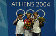 2004 Olympics medal ceremony for the Men's 50m Three-Position Rifle Competition