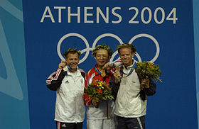 2004 Olympics medal ceremony for the Men's 50m Three-Position Rifle Competition.jpg