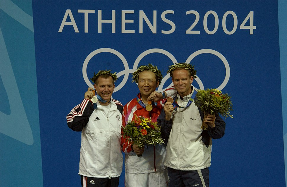 2004 Olympics medal ceremony for the Men%27s 50m Three-Position Rifle Competition