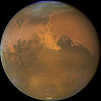 Mars from Hubble Space Telescope October 28, 2005 with sandstorm visible.