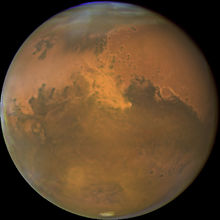 Mars from Hubble Space Telescope October 28, 2005 with dust storm visible.