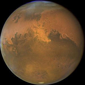 Atmosphere of Mars - Image of Mars with sandstorm visible, taken by the Hubble Space Telescope on 28 October 2005