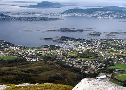 View of Langevåg (looking towards the town of Ålesund, administrative center of the neighbouring municipality)