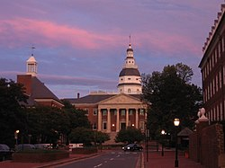 Sunset over the State House in Annapolis.