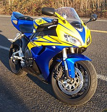 Blue and yellow 2006 Honda CBR1000RR