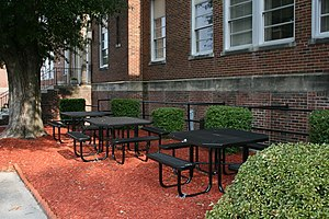 Durham Public Schools - Picnic tables outside the DPS central office building