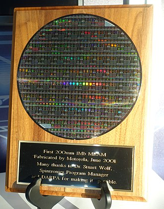 Magnetoresistive random-access memory - First 200mm 1 Mb MRAM, fabricated by Motorola, 2001