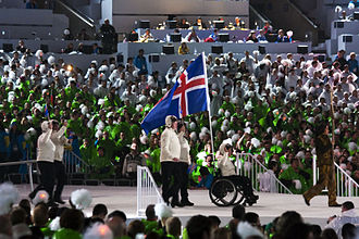 Iceland at the 2010 Winter Paralympics - As the flag bearer for Iceland, Erna Fridriksdottir is entering the stadium at the Opening Ceremony on March 12th.