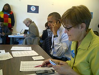 Barack Obama 2012 presidential campaign - Obama participating in a phone bank Election Day