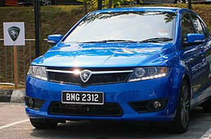 Proton Suprima S - A Suprima S with LED daytime running lights (DRL) illuminated.