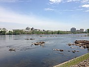 """2014-05-12 12 17 50 View of the """"Falls of the Delaware"""" and downtown Trenton, New Jersey from Morrisville, Pennsylvania"""