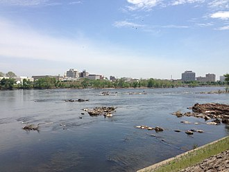 "The ""Falls"" at Trenton 2014-05-12 12 17 50 View of the ""Falls of the Delaware"" and downtown Trenton, New Jersey from Morrisville, Pennsylvania.JPG"