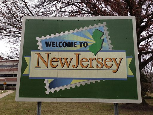 2014-12-20 15 44 54 Welcome To New Jersey sign in front of the New Jersey Department of Transportation Headquarters in Ewing, New Jersey