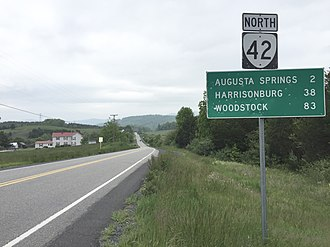 Virginia State Route 42 - View north along SR 42 near Craigsville, Augusta County