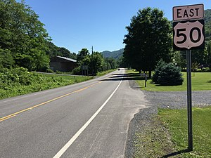U.S. Route 50 in West Virginia - View east along US 50 in Mineral County