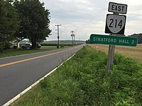 2017-07-05 07 49 35 View east along Virginia State Route 214 (Stratford Hall Road) at Virginia State Route 3 (Kings Highway) in Lerty, Westmoreland County, Virginia.jpg