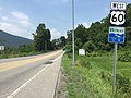 2017-07-21 12 17 44 View west along U.S. Route 60 (Midland Trail) at Harts Run Road (Greenbrier County Route 60-14) in White Sulphur Springs, Greenbrier County, West Virginia.jpg