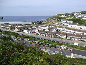 Portreath Tramroad - View of Portreath Harbour; the tramroad approached from the right centre of the picture, between the two rows of white-faced houses