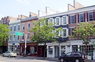 Skaneateles (village), New York - Shops on East Genesee Street, part of the Skaneateles Historic District (2012)