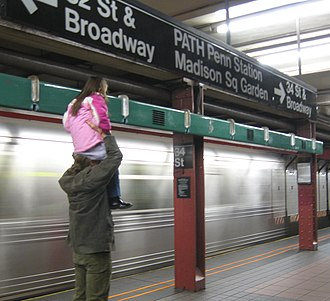 34th Street–Herald Square (New York City Subway) - Girl using the REACH New York, An Urban Musical Instrument rack