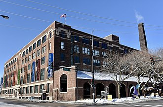 Bridgeport, Chicago - The Bridgeport Art Center occupies the former Spiegel Catalog Warehouse building at 1200 West 35th Street in the Central Manufacturing District-Original East Historic District.