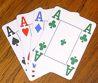 Clubs (suit) - Four Aces of a Four-colour deck ; here, the Clubs are green.