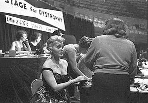 Zsa Zsa Gabor - Gabor at the Denver Muscular Dystrophy TV Marathon, c. 1955