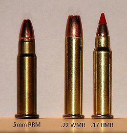 From left to right: 5mm Remington Rimfire Magnum, .22 Winchester Magnum Rimfire, .17 Hornady Magnum Rimfire