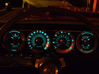 Electroluminescence - 1966 Dodge Charger instrument panel with electroluminescent lighting. Chrysler first introduced cars with EL panel lighting in its 1960 model year.
