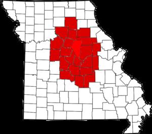 Mid-Missouri - Image: 682px Map of Missouri highlighting Mid Missouri