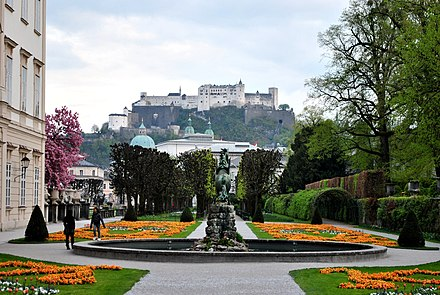 Gardens in Mirabell Palace, with Hohensalzburg Fortress in the distance 8 of 10 - Hohensalzburg Castle, AUSTRIA.jpg