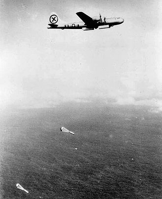 Operation Starvation - A B-29 dropping sea mines over Japanese home waters