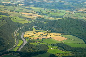 Hadnock - Aerial view looking north - the Hadnock area is the farmland in the centre foreground