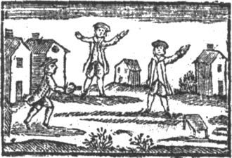 Stoolball - 1767 Illustration of Stoolball in the children's book A Little Pretty Pocket-Book