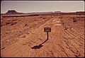 A Major Environmental Problem in the Canyonlands Is the Off - Road Use of Vehicles. Because of Scarce Rain and Thin Ground Cover, This Old Road Scar Will Take Years to Heal, 05-1972 (3814967902).jpg