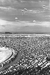 "A PARACHUTING EXHIBTION DURING THE CLOSING CEREMONY OF THE 3RD ""MACCABIA GAMES"" - 2.JPG"