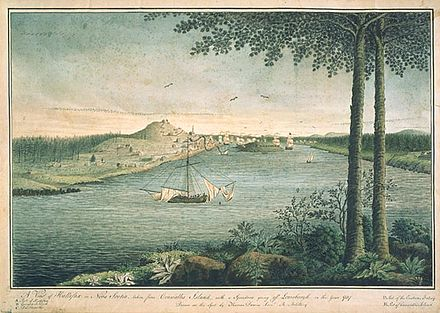 The Royal Navy's North American squadron was based in Halifax, Nova Scotia. At the start of the war, the squadron had one ship of the line, seven frigates, nine sloops as well as brigs and schooners. A View of Halifax - Thomas Davies.jpg