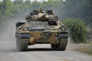 Warrior tracked armoured vehicle - A Warrior on Salisbury Plain during Exercise Lion Strike