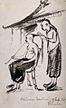 A barber dressing a man's hair in Rangoon, 1867. Ink drawing Wellcome V0019792.jpg
