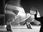 A de Havilland Mosquito PR Mk XVI of No. 140 Squadron RAF warms up its engines at Melsbroek in Belgium, before taking off on a night photographic reconnaissance sortie, 15 February 1945. C4995.jpg