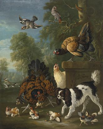 Pieter Casteels III - A family of chickens fending off a spaniel in a landscape
