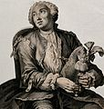 A man, in a wig and a cravat, holding a musical instrument. Wellcome V0040320.jpg
