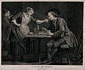 A man sits at a table with playing cards and drink in hand, Wellcome V0019547.jpg