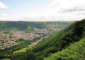 "Abertillery - The western outskirts of Abertillery as seen from the hillside above ""The Park""."