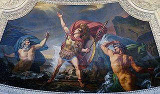 L'Eau. Achille près d'être englouti par le Xanthe et le Simois, irrités du carnage qu'il a fait des Troyens