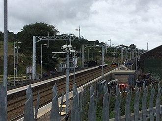 Adlington railway station (Lancashire) - Work in August 2018 at Adlington Railway Station including electrification -general view