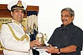 Admiral RK Dhowan presenting a memento Defence Minister Manohar Parrikar at the Induction Ceremony of P8I Boeing aircraft squadron at INS Rajali, Arakkonam.jpg