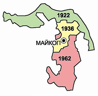 Adyghe Autonomous Oblast - Changes in the territory of the Adyghe АО in 1936-1962
