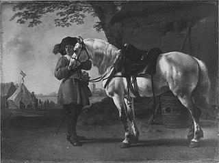 Offizier mit Federhut und Pferd (zugeschrieben)