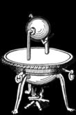 Vízszintes tengelyt alkotó két függőleges rész között felfüggesztett gömb vonalrajza.  Két derékszögű sugárkar a kerületén a két függőleges oszlop alatt zárt edényben vizet forralva keletkezett gőzt üríti, amely gőzt enged a gömb belsejébe.